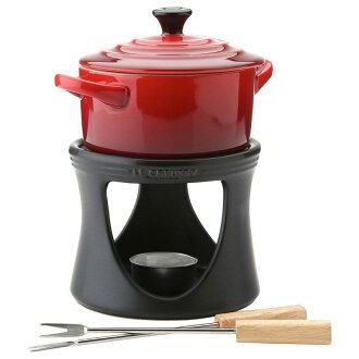 炉子迷你比目鱼炻巧克力火锅比目鱼火锅设置在设置 0.25 L Le Creuset 炻器迷你