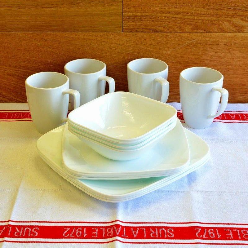 コレール ピュアホワイト 食器16点セットCorelle Square 16-Piece Dinnerware Set Service for 4 Pure White