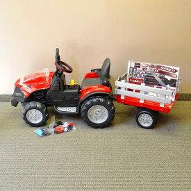 【組立要】 ペグペレゴ マグナムトラクター&トレーラー 12Vバッテリー付子供用電動自動車 3〜7才用 Peg Perego Case IH Magnum Tractor and Trailer 12-Volt Battery-Powered Ride-On