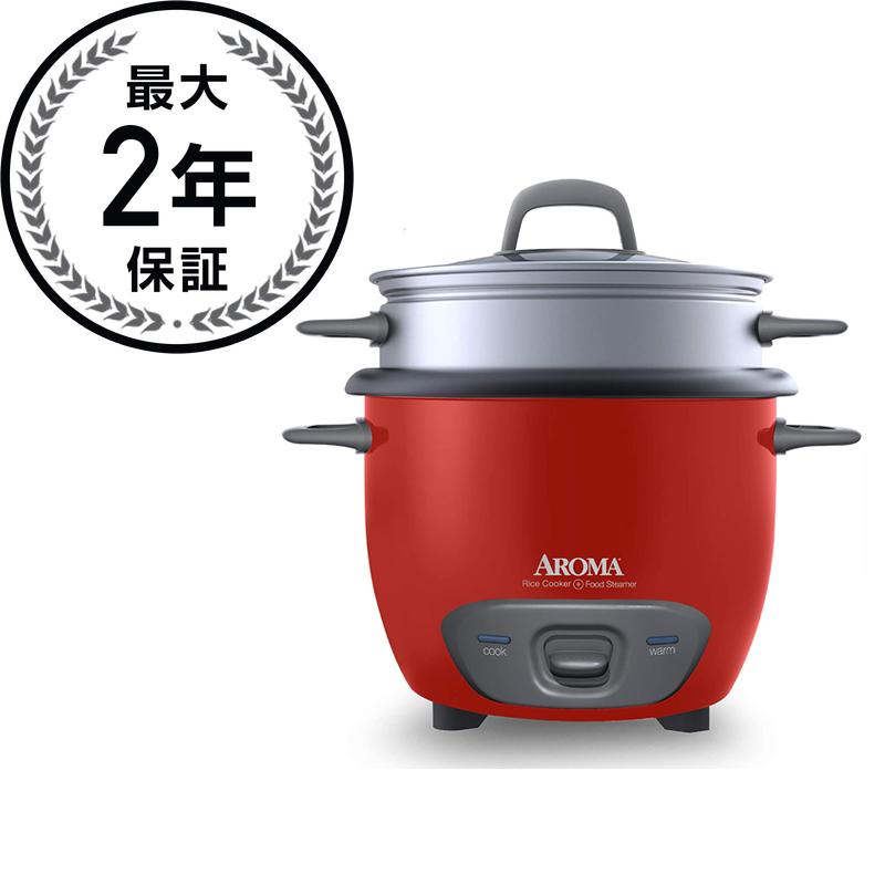 アロマ 6カップ 炊飯器 フードスチーマー 赤 レッドAroma Arc-743-1Ngr 3-Cup (Uncooked) 6-Cup (Cooked) Rice Cooker and Food Steamer Red 家電
