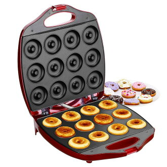小甜甜圈厂商12个VonShef Deluxe 12 Hole Electric Mini Donut Maker Snack Machine,Red
