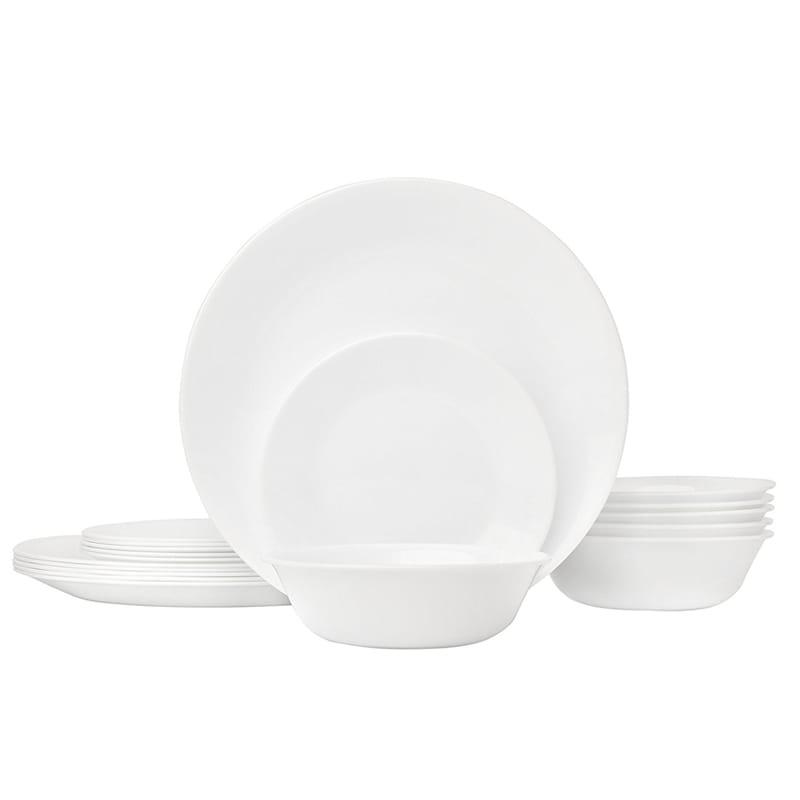 コレール リビングウェア ウィンターフロストホワイト 6組 18点セット Corelle Livingware 18-Piece Glass Dinnerware Set, Winter Frost White, Service for 6