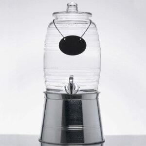 ドリンクサーバー 模様入 ガラスドリンクディスペンサー 9.4L ボトルタグ インフューザー メタルスタンド付 レストラン カフェ ホテル Acopa 2.5 Gallon Barrel Glass Beverage Dispenser with Infusion Chamber, Ch
