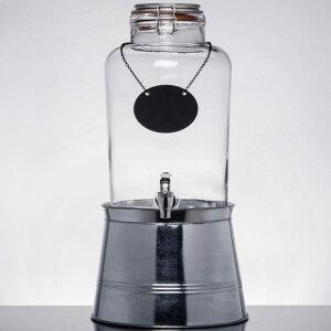 ドリンクサーバー ガラスドリンクディスペンサー 7.5L ボトルタグ メタルスタンド付 レストラン カフェ ホテル Acopa 2 Gallon Country Glass Beverage Dispenser with Chalkboard Sign and Metal Stand 553210025SKT