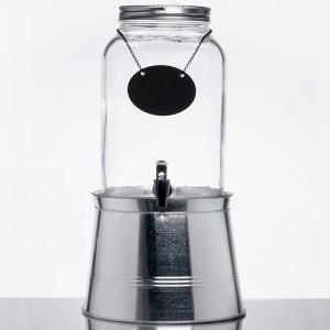 ドリンクサーバー メイソンジャー ガラスドリンクディスペンサー 7.5L ボトルタグ インフューザー メタルスタンド付レストラン カフェ ホテル Acopa 2 Gallon Mason Jar Glass Beverage Dispenser with Infusion