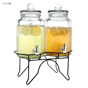 ドリンクサーバー ガラスドリンクディスペンサー 3.8L 2個セット ワイヤースタンド付 レストラン カフェ ホテル Double 1 Gallon Style Setter Laredo Octagon Glass Beverage Dispenser with Metal Stand 494210927GB