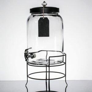 ドリンクサーバー ガラスドリンクディスペンサー 11L ワイヤースタンド付 レストラン カフェ ホテル 3 Gallon Style Setter Franklin Glass Beverage Dispenser with Metal Stand 494210235GB