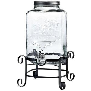 ドリンクサーバー ロゴ入 ジャー型 ガラスドリンクディスペンサー 11L ワイヤースタンド付 レストラン カフェ ホテル 3 Gallon Style Setter Main Street Glass Beverage Dispenser with Metal Stand 494210263GB