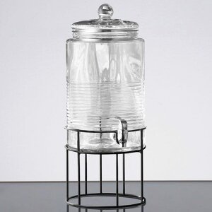 ドリンクサーバー 模様入 ガラスドリンクディスペンサー 7.5L ワイヤースタンド付 レストラン カフェ ホテル 2 Gallon Style Setter Covina Glass Beverage Dispenser with Metal Stand 494210321GB