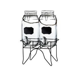 ドリンクサーバー ガラスドリンクディスペンサー 3.8L 2個セット ロープハンドル ワイヤースタンド付 レストラン カフェ ホテル Double 1 Gallon Style Setter Newcastle Glass Beverage Dispenser with Metal Stand 49