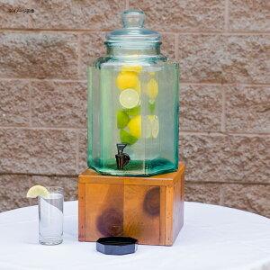ドリンクサーバー ガラスドリンクディスペンサー 7.5L インフューザー 木製スタンド付 レストラン カフェ ホテル Cal-Mil 3422-2INF 2 Gallon Vintage Glass Beverage Dispenser with Wooden Base and Infusion Chamber 21134