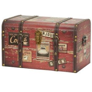 トランク 木製 ステッカー 革ベルト ストレージ ボックス 箱 アンティーク ビンテージ Winston Porter Aileen Medium Decorative Home Storage Trunk WNPR6688