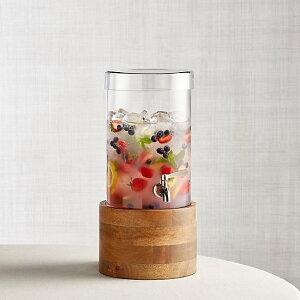 ドリンクサーバー スタンド付 ガラス ディスペンサー ステンレス蛇口 木 大理石 5.6L レストラン カフェ ホテル Crate and Barrel Cold Drink Dispenser