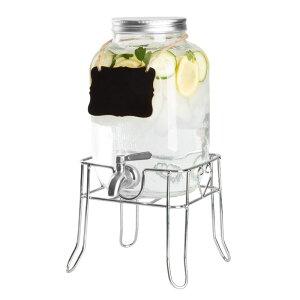 ドリンクサーバー ダブル メイソンジャー ガラス ビバレッジ ディスペンサー 3.8L ステンレス蛇口 メタルスタンド チョークボード Outdoor Glass Beverage Dispenser with Sturdy Metal Base & Hanging Chalkboard