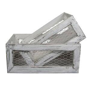 木箱 2サイズセット ウッド ケース クレート ホワイト ワイヤーメッシュ アンティーク ビンテージ Gracie Oaks 2 Piece Solid Wood Crate Set W000750058