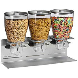 ゼブロ トリプル ドライ ディスペンサー シルバー×クロム Zevro KCH-06151 Commercial Plus Edition Portion Control Triple Dry Food Dispenser, Silver/Chrome