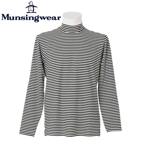 マンシングウェア ゴルフ メンズ 長袖 ボーダー ハイネック シャツ SG1368 カラー:N902 オフホワイト Munsingwear 16fwcz