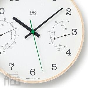 Lemnos TriO 温湿度計付き掛時計 PC10-22 壁掛け時計/かけ時計/北欧/ウォールクロック/壁時計/温度計/湿度計/デザイン時計/インテリア時計