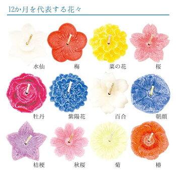 ろうそくギフトセット花づくし花の香12種類花形キャンドル12個ガラス容器フローティングキャンドル水に浮かべる月命日箱入進物贈答品カメヤマローソクALTARアルタ