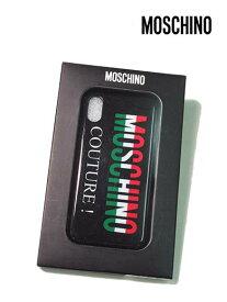 【上代¥12,000の70%OFF】【ネコポス】【正規取扱い】MOSCHINO【モスキーノ】iPhoneX用対応 アイフォン イタリアンカラーロゴ スマホ ケース カバー スマートフォンケース/ブラック【サイズ00】