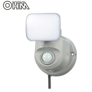 オーム電機 LEDセンサーライト AC電源 (コンセント式) 屋外可 LS400 5W×1灯 OSE-LS400