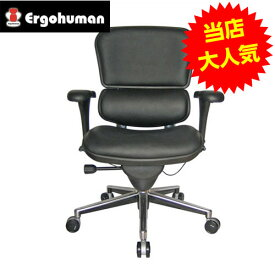 オフィスチェア 「エルゴヒューマンベーシック」ロー・革張りブラック EH-LAL BK※代引不可