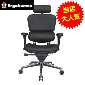 オフィスチェア 「エルゴヒューマンベーシック」ハイ・革張りブラック EH-HAL BK【代引不可】