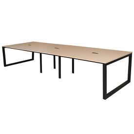 『ポイント5倍』 R・Fヤマカワ リスム フリーアドレス用テーブル W3600×D1200×H720mm ナチュラル×ブラック脚 RFFLT-3612NA-BL 【代引不可】