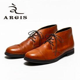 【SALE】ARGIS アルジス 12204 4アイレット チャッカブーツ メンズ カジュアル BROWN ブラウン シューズ 本革 革紐 革靴 ストレートチップ セメント製法 合成底 ラバー 日本製 【店頭受取対応商品】