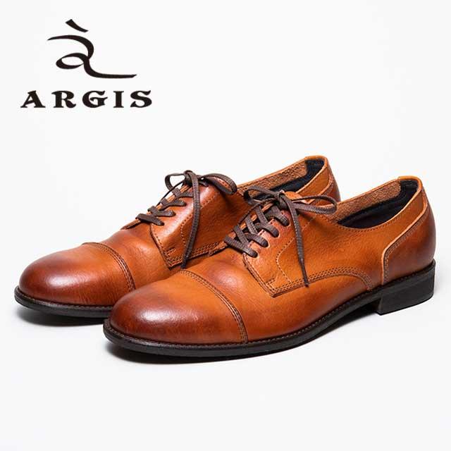 ARGIS アルジス21138 5アイレッツ トゥキャップギブソンBROWN 茶 外羽根 本革 革靴靴