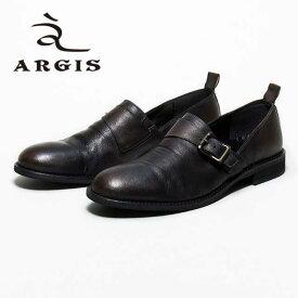 【SALE】ARGIS アルジス 71118 シングルモンク スリッポン シューズ メンズ BLACK 黒 レザー カジュアル 本革 革靴 日本製 Made in JAPAN 【あす楽】【店頭受取対応商品】