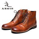 ARGIS アルジス72239 インサイドジップ ブーツ レースアップ ハトメ本革 革靴 靴 カジュアル メンズ【日本製】【店頭…