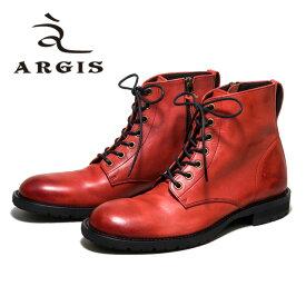 ARGIS アルジス82205 7アイレット レースアップブーツ 革靴GRAY グレー メンズ ショートブーツ タンクソールレザーシューズ シューズ 本革日本製 Made in JAPAN【店頭受取対応商品】