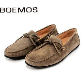 BOEMOS ボエモス 3170 ドライビングシューズ メンズ カジュアル 革靴 イタリア製 本革 スエード ローファー スリッポン リボン KARIBU グレーベージュ ラバーソール 【店頭受取対応商品】