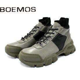 【SALE】BOEMOS ボエモス 4876ハイカット スニーカー メンズ 本革 FUMO グレー シューズ 厚底 ボリュームソール 革靴 靴 【イタリア製】【店頭受取対応商品】