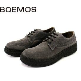【SALE】BOEMOS ボエモス 4997 ギブソンシューズ メンズ カジュアル 革靴 イタリア製 本革 スエード 外羽根 クレープソール マッドガード グレー セメント製法 ラバーソール 【店頭受取対応商品】