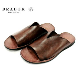 BRADOR ブラドール 46571 サンダル メンズ レザー 1枚革 BROWN ブラウン 本革 革靴 靴 カジュアル ラバーソール 【イタリア製】【店頭受取対応商品】