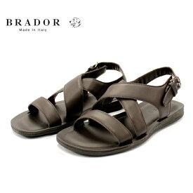 [10bi]BRADOR ブラドールH46518 サンダル メンズ クロス T.MORO ブラウン本革 革靴 靴 カジュアルラバーソール【イタリア製】【店頭受取対応商品】