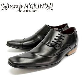 Bump N' GRIND バンプアンドグラインド6001 ビジネスシューズ 本革 メンズ サイドレースBLACK ブラック 穴飾り 革靴 短靴セメント製法 ラバーソール 【店頭受取対応商品】