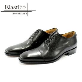 Elastico エラスティコ 642 ビジネスシューズ 本革 メンズ 内羽根 NERO ブラック ストレートチップ 革靴 短靴 レザーシューズ マッケイ製法 レザーソール 革底 イタリア製 【店頭受取対応商品】