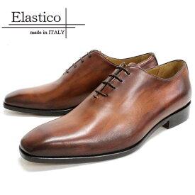 [10bi]Elastico エラスティコ#651 ホールカット ビジネスシューズ 本革 メンズCOGNAC 茶 レザーシューズ マッケイ レザーソールスクエアトゥ 革靴 靴 イタリア製 【店頭受取対応商品】