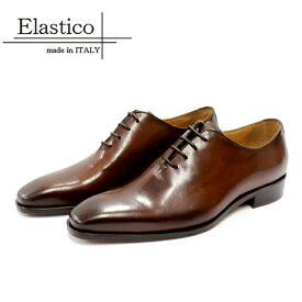 Elastico エラスティコ #651 ホールカット ビジネスシューズ 本革 メンズ TABACCO 茶 レザーシューズ マッケイ レザーソール スクエアトゥ 革靴 靴 イタリア製 【店頭受取対応商品】