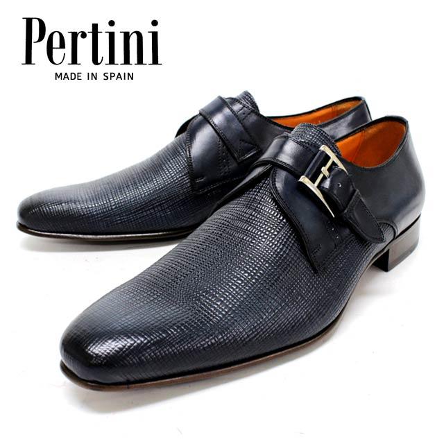 【new】Pertini ペルティニ 23685 MARINOシングルモンク 革靴 レザーソール メンズ ビジネス 【スペイン製】【店頭受取対応商品】