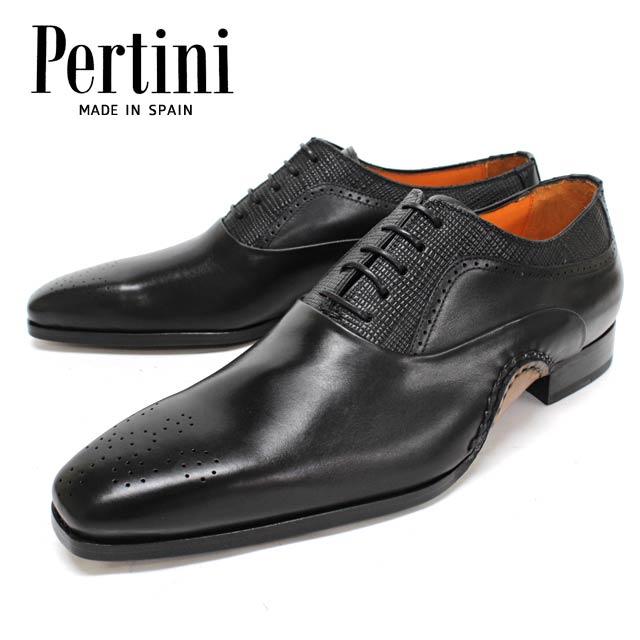 【new】Pertini ペルティニ 23707 BLACK内羽根 メダリオン 革靴 レザーソール メンズ ビジネス【スペイン製】【店頭受取対応商品】