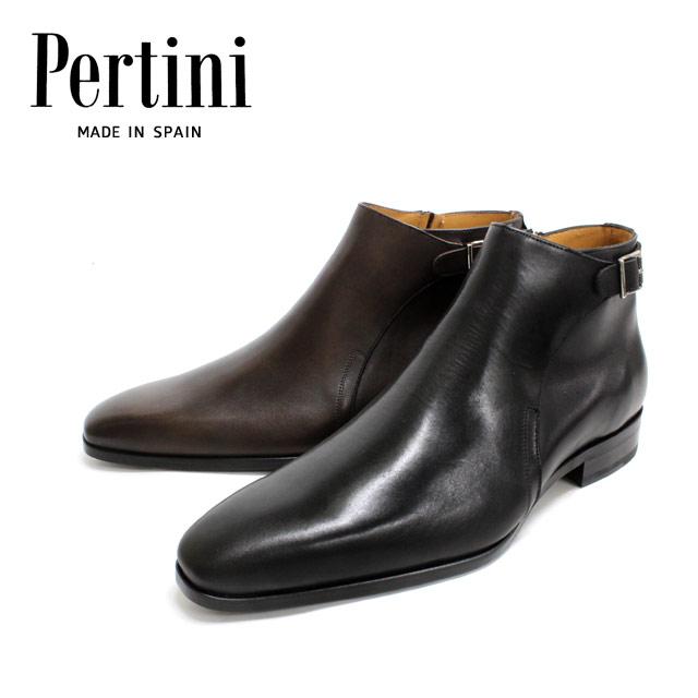 ● Pertini ペルティニ24384 ベルト付き インサイドジップブーツ セミスクエア プレーントゥ レザーソール ビジネス 【全2色】革靴 靴 メンズ 【店頭受取対応商品】