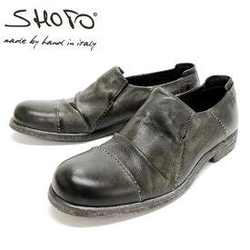 SHOTO ショト 9725 DARK GREY ダークグレー スリッポン ヴィンテージ仕上げ カジュアルシューズ 本革 革靴 靴 メンズ 【イタリア製】【店頭受取対応商品】