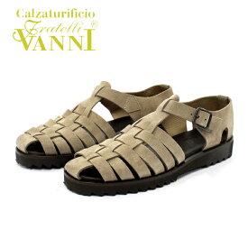 【SALE】VANNI ヴァンニ 4038 サンダル 本革 メンズ グルカ TAUPE SDE ベージュ スエード シャークソール グラディエーター ラバーソール 紳士 靴 【イタリア製】 【店頭受取対応商品】
