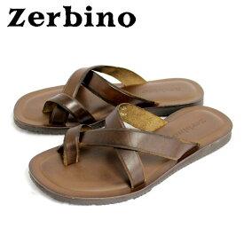 Zerbino ゼルビーノ5003 サンダル メンズ レザー トング MARRONE ブラウンレザー カジュアル 本革 革 紳士 靴【イタリア製】 【店頭受取対応商品】