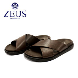 【SALE】ZEUS ゼウス1730 サンダル メンズ レザー クロス T.MORO ブラウン本革 革靴 靴 カジュアル ラバーソール【イタリア製】【店頭受取対応商品】