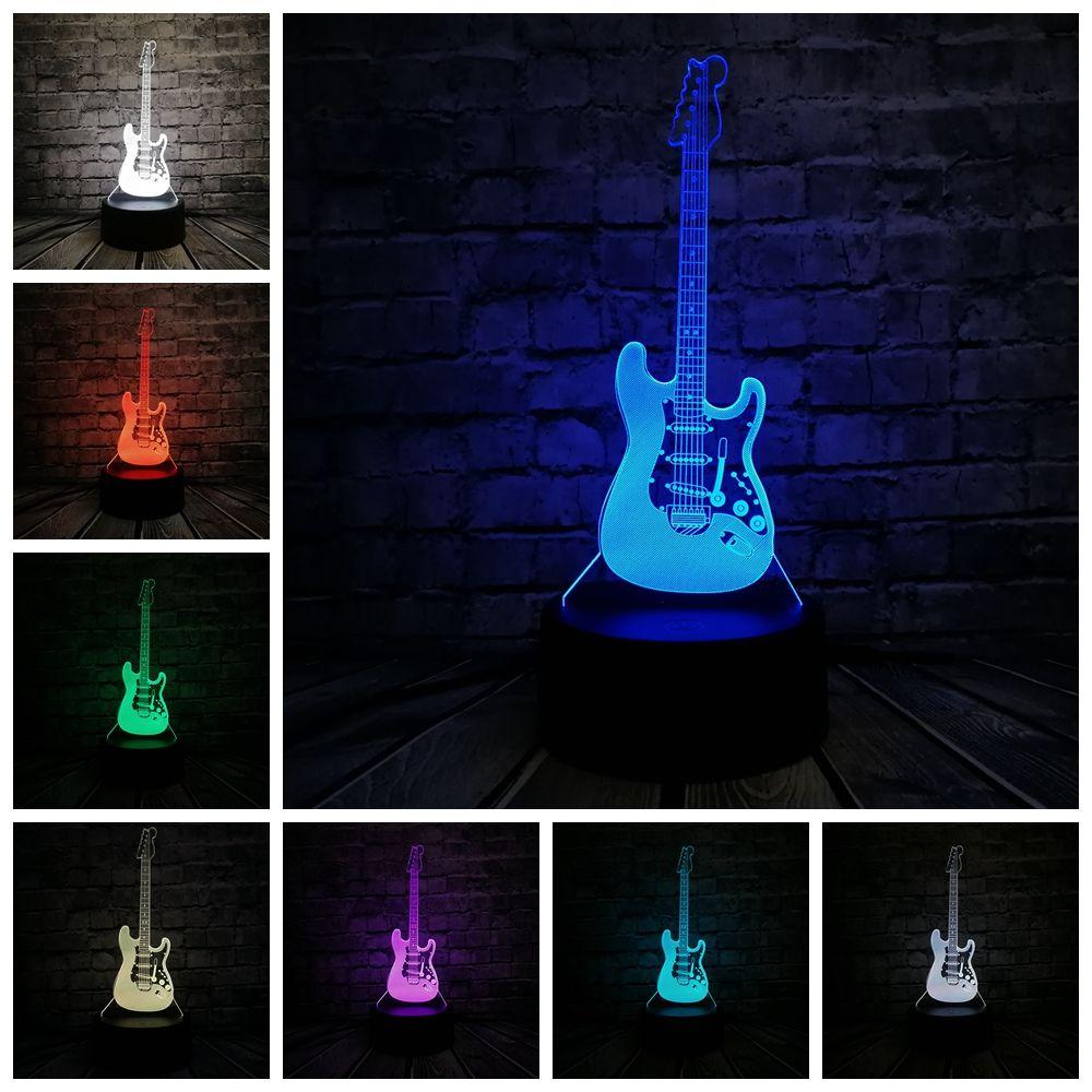 ギター スタンド デスク イルミネーション アクリル インテリア LED ナイトライト マイクロUSBケーブル 単3 電池駆動 バッテリー
